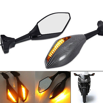 2x Motorcycle Rearview Side Mirrors LED Turn Signal Street bikes Indicator NEW