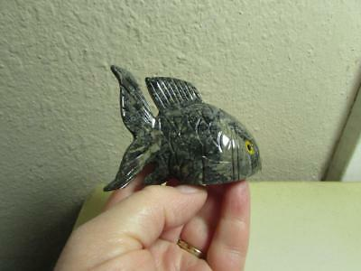 FISH, Solid stone Hand carved Marble from Andes Rich Multi Hued Stone Fish