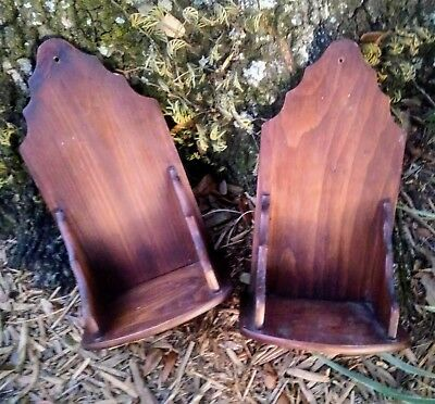 Pair early primitive hanging wood wall candle shelf vintage antique primitive