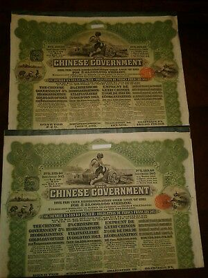 Very Rare Green £20 1913 Chinese Reorganisation Gold Loan Bonds
