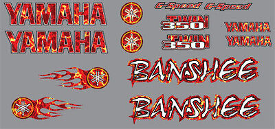 Yamaha Banshee Decals Red Plasma Flame Style Stickers Graphics 14pc ATV QUAD