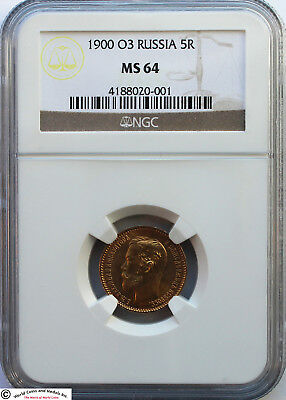 Russia 1900-O3 Gold 5 Roubles. Nicholas Ii. Ngc Ms-64. Better Date. Scarce.