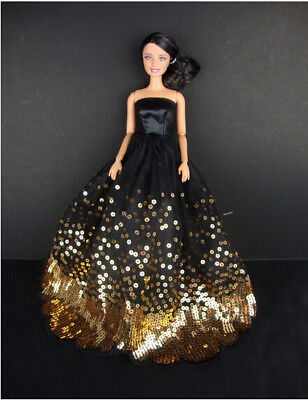 Luxury Black Wedding Party Dress Gold Sequin Clothes Grows gowns For Barbie Doll