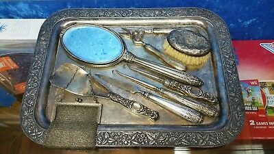 Antique 1895 Sterling Silver Lot Vanity & Manicure, Shoehorn !!! PLEASE READ !!!