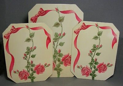 Vintage Boxed Set of 3 Pro-Tex Hot Dish Mats - Roses and Ribbons
