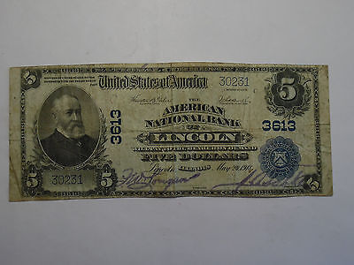 1902 Lincoln Illinois National Bank Currency Rare $5 Large Note Fine+