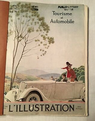 Vintage Oct 1934  French L'Illustration Magazine Tipped-in Art AUTO TOUR Edition
