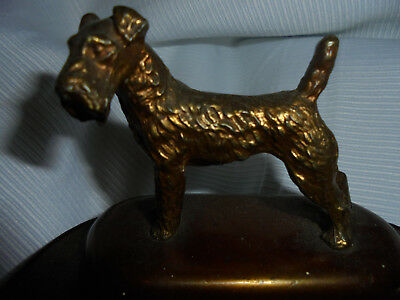 Antique Airedale Terrier Dog Figural Bronze Art Deco Business Card Holder Vtg Nr