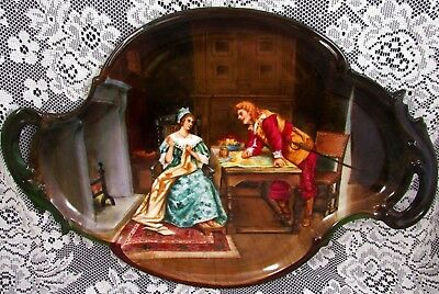 French Limoges Hand Painted Loving Couple Large Dresser Tray