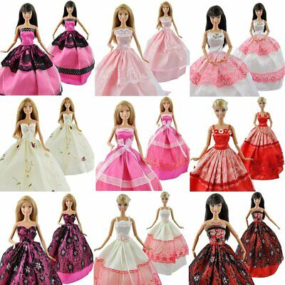 5pcs/Lot For Barbie Doll Fashion Princess Dresses Outfits Party Wedding Clothes