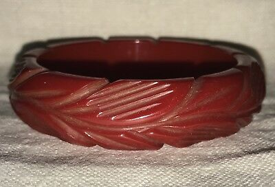 Vintage Thick & Chunky Deep Carved Cherry Red Bakelite Bracelet