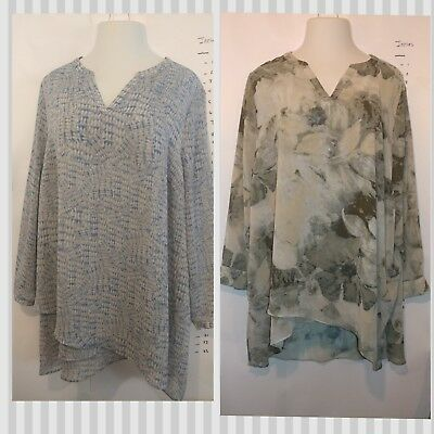 Lot of 2 Susan Graver Printed Sheer Crinkle Chiffon Crossover Hem Tunics 24w