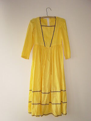 womens costume vintage retro 1960s 1970s yellow with blue trim dress xs x small