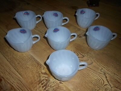 Set Of 7 W/org.stickers Fire King Azurite Blue Swirl Creamers Excellent Conditio
