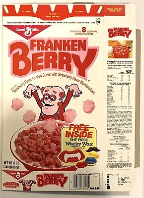 Vintage 1986 General Mills Frankenberry Cereal Box,Wacky Wax Chewing Gum Offer