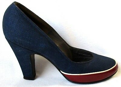 RARE Ladies Size 4B VTG 1950's Design by Evins Navy Linen & Maroon Leather Pump