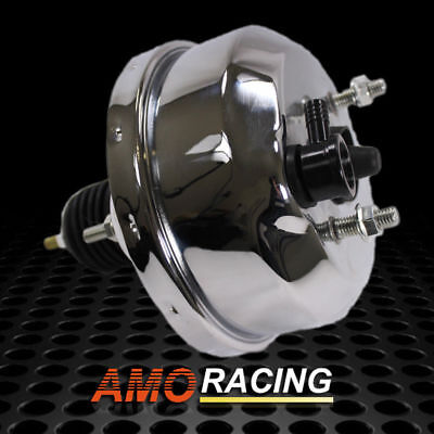 """Chrome Plated 7"""" Single Diaphragm Power Brake Booster Fit Chevy Ford Street Rod"""