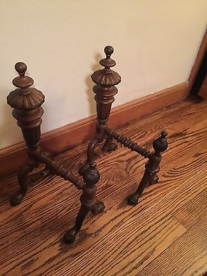 Vintage Antique Fire Place Andirons Firedogs Claw Foot Feet Brass