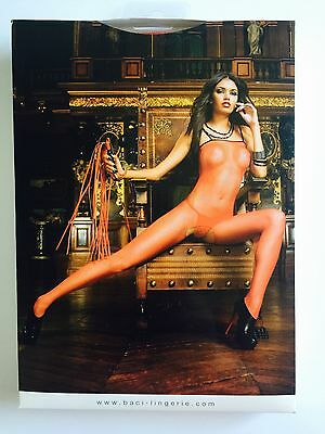 BACI - Red Fishnet Bodystocking w/ Trim #430, one size - FREE SHIPPING in US !!