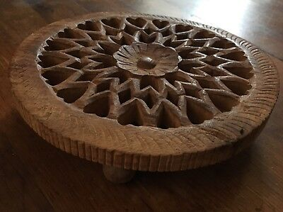 Vintage Hand Carved Wooden Footed Trivet For Pot Made In India By Sarna Heart 5""