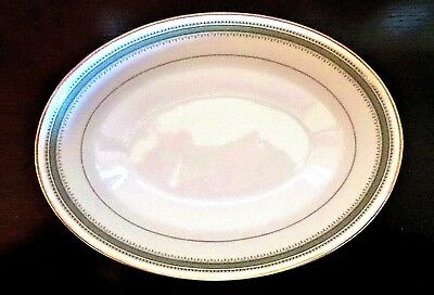 "Noritake Fine China Tisdale Oval 9"" Vegetable Serving Bowl Green Band Gold Trim"