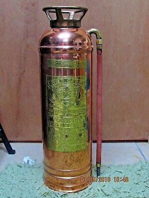 "Rare Antique Vintage ""red Star"" Copper Brass Fire Extinguisher Polished No 303"