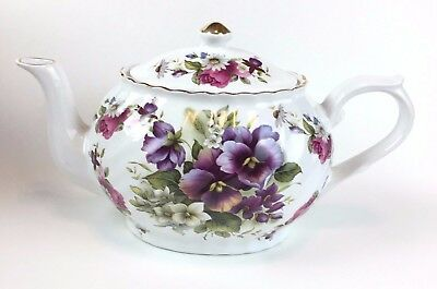 Arthur Wood & Son Pansy Daisy And Rose Floral Teapot Staffordshire England
