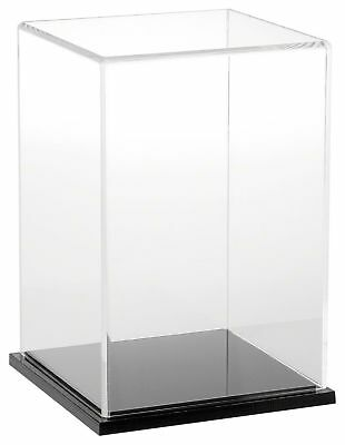 """Plymor Brand Clear Acrylic Display Case with Black Base, 6"""" W x 6"""" D x 9"""" H New"""