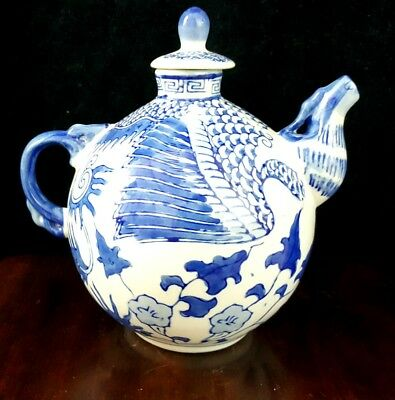 Antique Chinese Blue and White Porcelain Teapot Qing Ming Dynasty 19thC