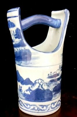 Antique Chinese Blue & White Porcelain Handle Vase Qing Ming Dynasty 19thC