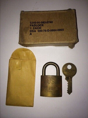 Vintage American Lock Co. Brass Padlock US Government/Military W/ Original​ Key