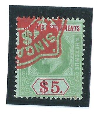1902 King Edward VII Malaya Straits Settlements $5 Duty Stamp Used  (S-82)