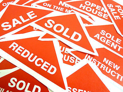 Property Sales Stickers, Large Red Triangles, Estate & Letting Agents Labels