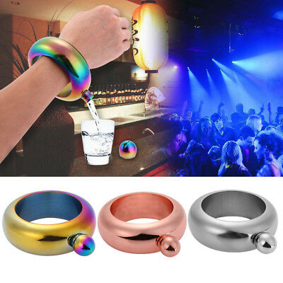3.5oz Portable Hip Flask Holder Alcohol Drink Bangle Bracelet Party Bar 3 Colors