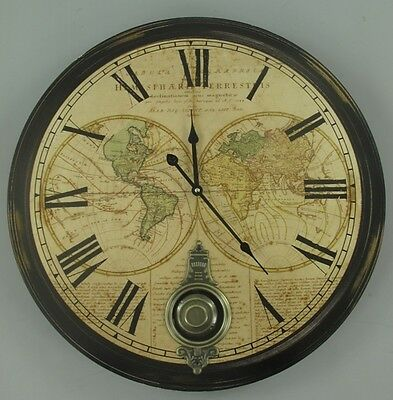 Big XXL Wall Clock Pendulum Colonial Style Country House Nostalgia Antique