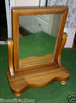 Vintage Wooden Dresser Top Shaving or Make-up Mirror with Stand