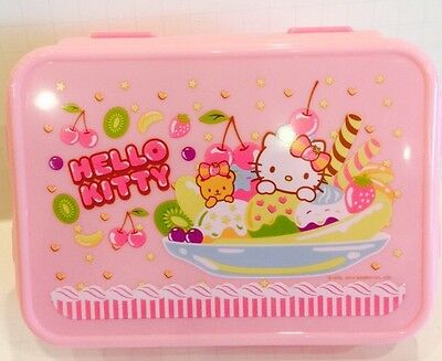 NEW SANRIO HELLO KITTY LUNCH CONTAINER CASE W/SPOON FORK: cHERRY FRUIT DESIGN