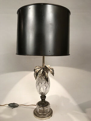 Lamp pineapple crystal carved (Sèvres ?) Mount bronze silver and metal