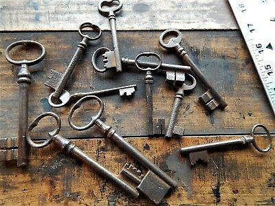 Lot of 11 Antique French keys,door,castle,19th C,rustic,lock,forged,deco wedding