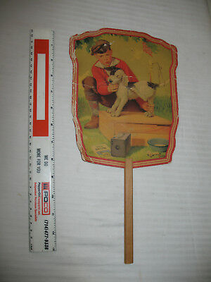 Antique Advertising Hand Fan Dog Show Gebotts Grocery Ice Cold Beer Young Boy