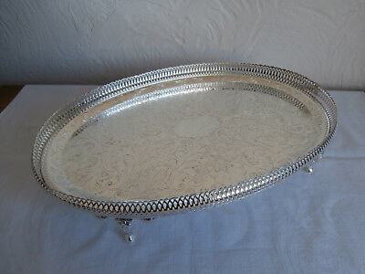 Silver Plate: Oval Gallery Tray By Mayell: Queen Anne Range