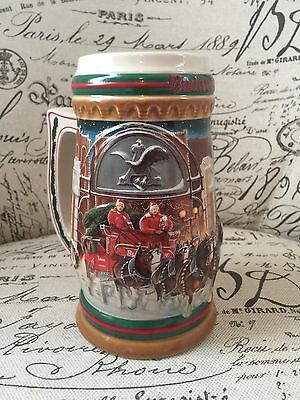 "VTG 1997 Budweiser Stein Mug Clydesdales ""Home for the Holidays"" Horses Beer"