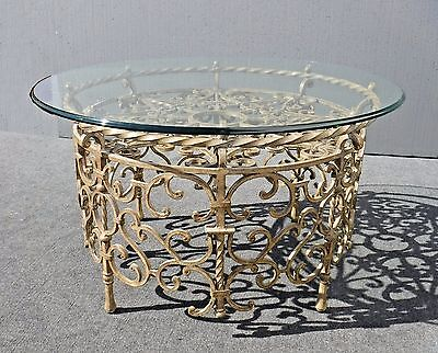 Tall Vintage Ornate Wrought Iron COFFEE TABLE Spanish Style w Glass