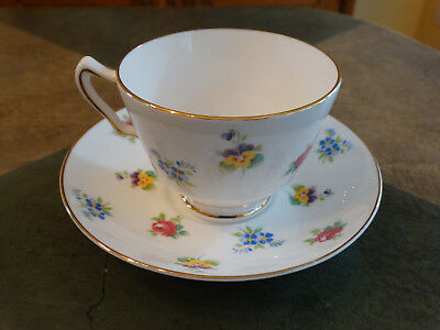 Crown Staffordshire Floral Bouquet Teacup and Saucer Smooth