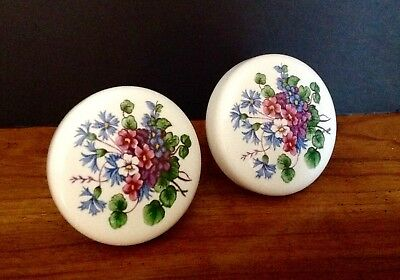 Vintage YALE & TOWNE White Porcelain Door Knobs French Provincial *Rare Floral*