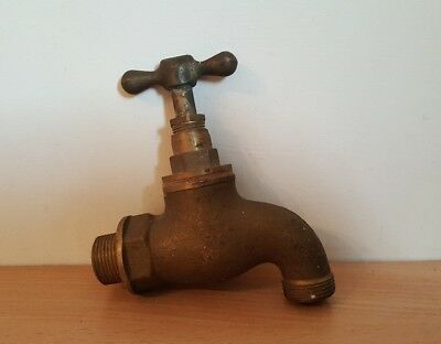 old vintage reclaimed large solid brass garden tap