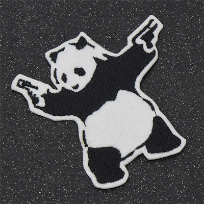 1pc Lovely Panda Iron On Patch Animal Embroidered Applique for Boys Clothing DIY