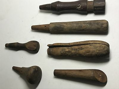 Vintage lot of 6 Chisel Woodworking Tools Wood Handles, great antique look!