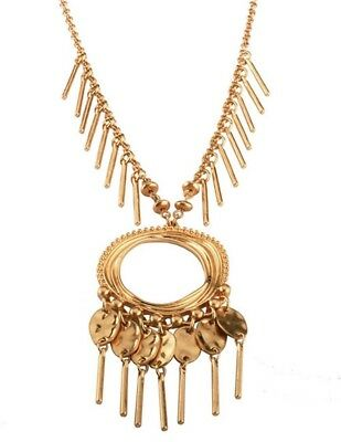 ZARA Gold abstract ethnic gold tassel chunky long coins pendant necklace