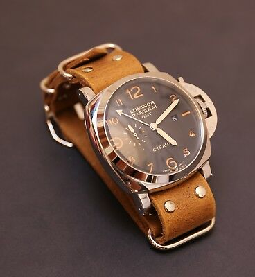 for Panerai watch strap Tan leather Military Band on rivets 18/26mm Handmade